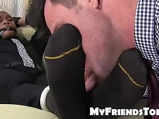 Ebony stud Trent King tied up for deviant feet licking