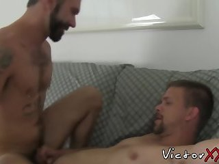 Bearded stud gives head and receives hardcore ass drilling