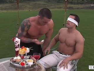 Muscle gay outdoor with cumshot