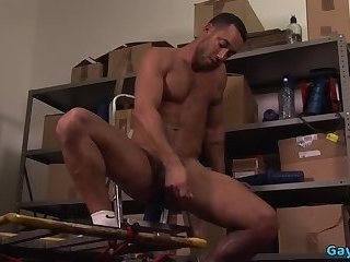 Muscle gay dildo and cumshot