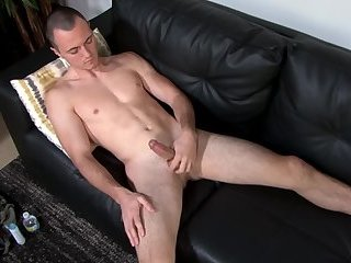 Handsome military stud tugging POV cock