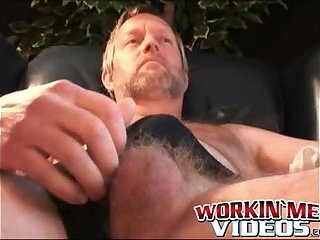 Horny mature dude loves playing with asshole while wanking