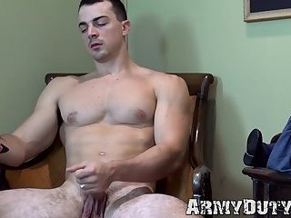 Muscular soldier Alex James strokes long dick solo
