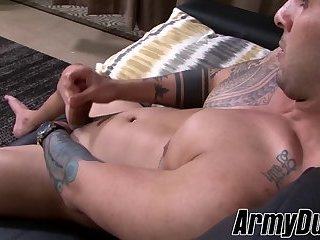 Attractive army homosexual has a solo masturbation session