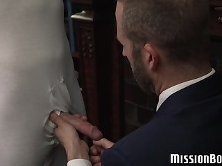 Young Mormon homo breeding with pastor before creampie