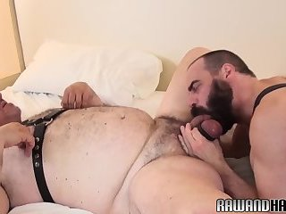 Big bear doggystyling mature bottom after bj