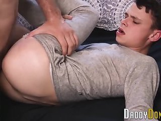 Teen twink stepson banged