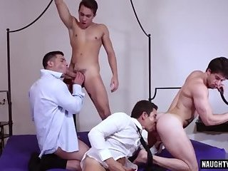 Tattoo gay foursome and cumshot