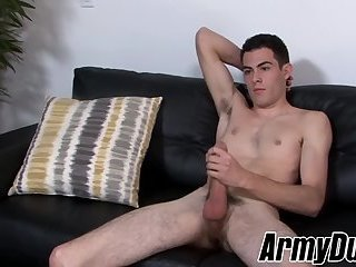 Military private plays with his giant trimmed dick solo