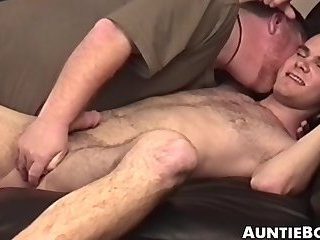 Hairy young gay cums hard after workplace anal play