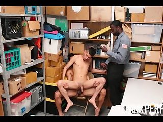 Straight Latino Twink Shoplifter Fucks Two Black Mall Cops For Freedom
