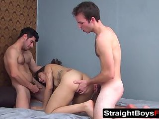 Supposedly straight guys spitroast a dick devouring slut