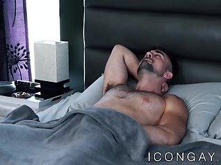 Hairy and muscular jocks enjoy some sensual ass breeding