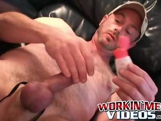Horny old homosexual beats his thick meat and cums