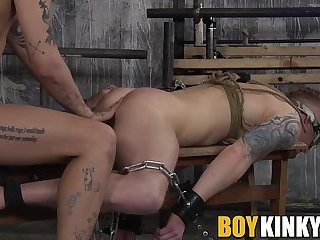 Blindfolded slave got his ass eaten out and smashed rough