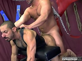 Leather bear pounded bareback before jizzing