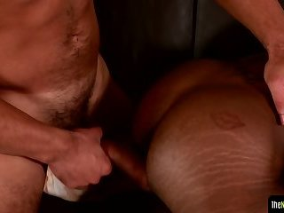 Buff black cocksucker slams tight ass