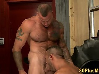 Buff hunk bangs gay butt