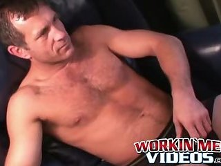 Freaky voluptuous homo wanks his cock and cums solo
