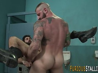 Buff guy banged in toilet