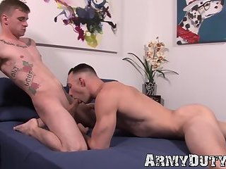 Bare ass breeding with muscular military homosexuals