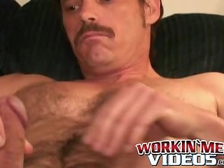 Deviant mature man plays with his big cock and shoots jizz