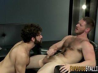 Ripped dude cums on beard
