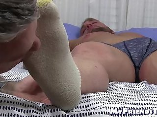 Sleeping jock got his toes sucked by a homosexual pervert