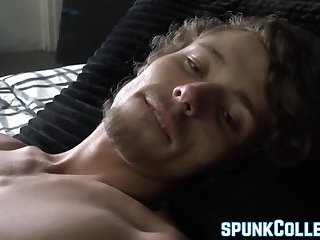 Young jock Derrick Dickem takes his dick on a stroke