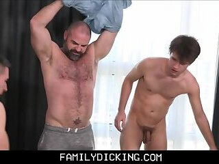 Bear Stepdad has Threesome With Both Stepson's In His Bed