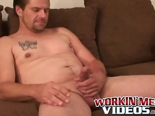 Old cock sucker grabs his big dick and masturbates solo