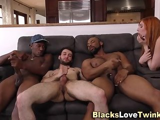 Black dudes spunk in 3way