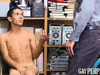 Skinny thief sucks officers dick and raw fucked from behind