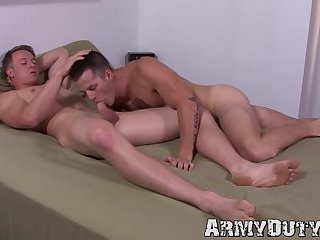 Pretty soldier wastes no time sucking dick and banging hard
