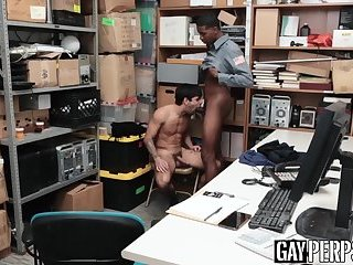 Young perp punished and raw fucked by big cocked black guard