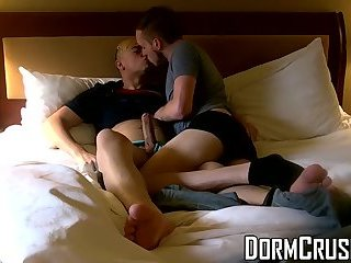 Tattooed college students ass fuck wildly in the dorm room