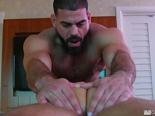 Thick college bro gets massage by beefy burly dad.