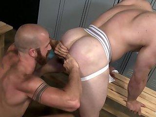 Sweaty gay anal sex - Bareback!