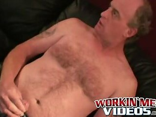 Mature amateur working on his long hard dick until he cums
