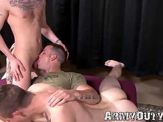 Skinny gay soldiers have hardcore threesome fuck fest