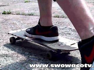 Horny skater bareback