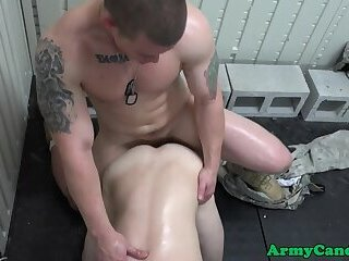 Facialized cadet gets drilled from behind