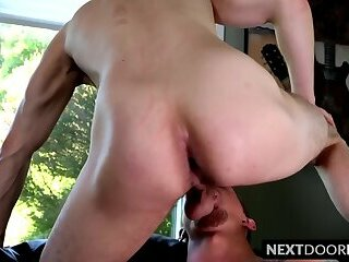 Tattooed jock anally drilled with dildo by his kinky lover