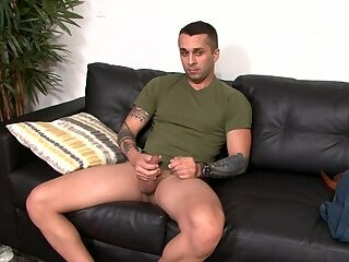Solo marine jerking off on the couch