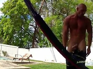Johnny Sins Jerk In Poolside Hammock