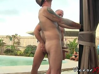 Experienced butt buddies waste no time ass banging outdoors