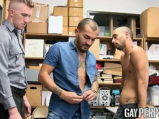 Latino jock thief barebacked in office threesome