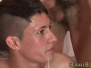 Gay twink gets bukkaked