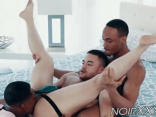 Black stallions fuck each other and their white friend