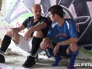 Outdoor French young ass fucking athletic coach big cock and cumshot